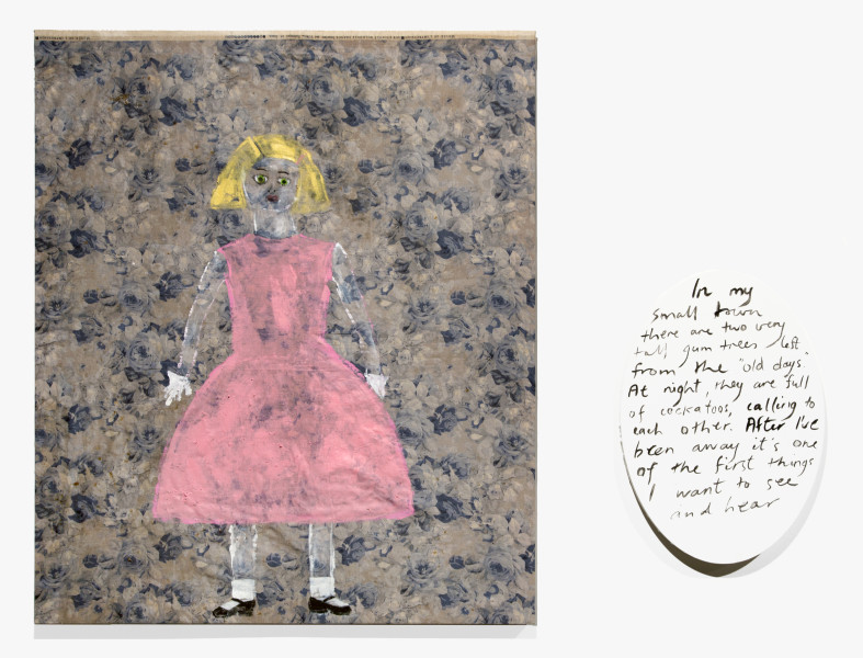 Jenny Watson Flower girl, 2018; from the series Sydney Contemporary 2018; acrylic on rabbit skin glue primed Japanese chintz and acrylic on oval text panel; two parts: 100 x 84cm; 51 x 36cm; enquire