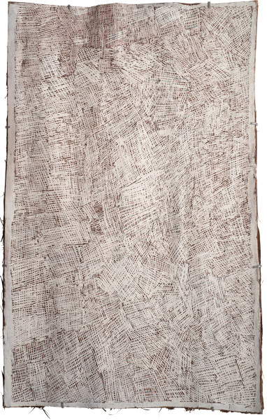 Nyapanyapa Yunupingu Untitled, 2015; 4773X; natural earth pigments on bark; 103 x 64 cm; Enquire