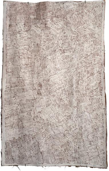 Nyapanyapa Yunupingu Untitled, 2015; 4773X; natural earth pigments on bark; 103 x 64 cm; enquire