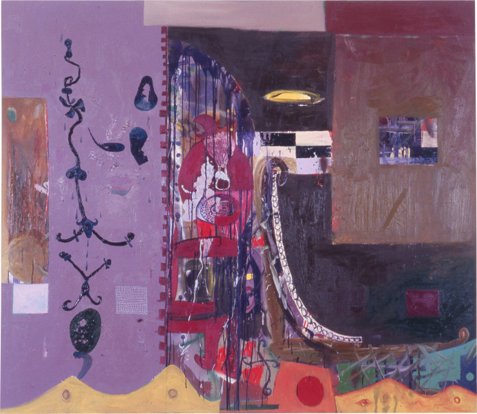 Gareth Sansom The Weight, 1988; oil and enamel on linen; 198.1 x 228.6 cm; enquire