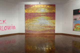 Installation view; Nell Unlimited Radiance, 2001; MDF, cork, sequins, pins, acrylic, paint; 381 x 409 cm; 64 panels 51.2 x 47.7cm each; enquire