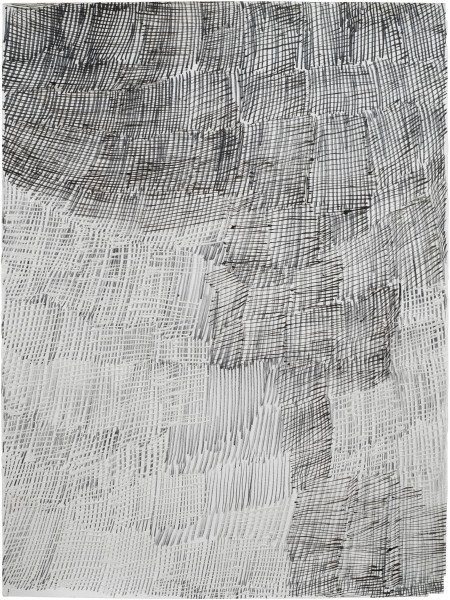 Nyapanyapa Yunupingu Djorra (paper) 17, 2014; TPA128; felt tip pen, earth pigments on discarded print proofs; 75 x 56 cm; Enquire