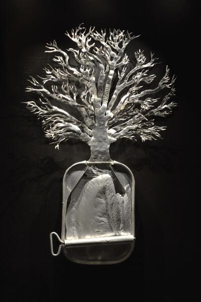 Fiona Hall Quercus robur / English oak, 1990-05; from the series Paradisus Terrestris; aluminium & tin; 25 x 16.3 x 2.5 cm; enquire