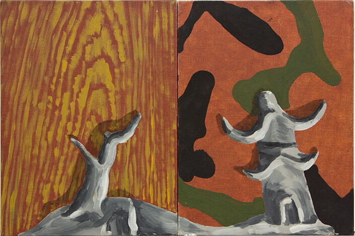 Tony Clark Chinoiserie Landscape, 0; oil on canvas board; 30.5 x 22.8cm (each panel) 30.5 x 45.6cm (overall); enquire