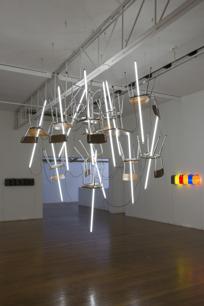 Bill Culbert 2 Drop, 2013; furniture, fluorescent tubes; dimensions variable; enquire