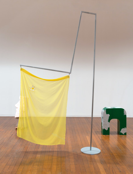 Mikala Dwyer Flags, 2018; painted steel, fabric, carabiner; 290 x 170 x 36 cm; (IV); Enquire
