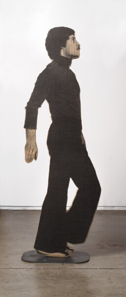 David Noonan Untitled, 2008; Figure C; screen printed jute, plywood, metal stand; 187 x 61 x 5.5 cm; Edition of 2 + AP 1; enquire