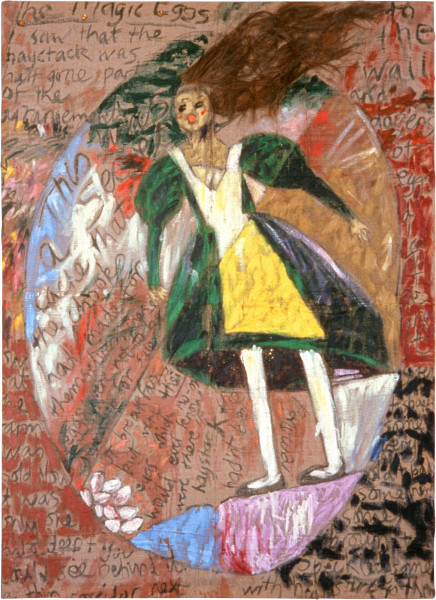 Jenny Watson The magic eggs, 1984-85; Oil, acrylic, horse hair, glitter and ink on hessian; 274.5 x 183 cm; enquire