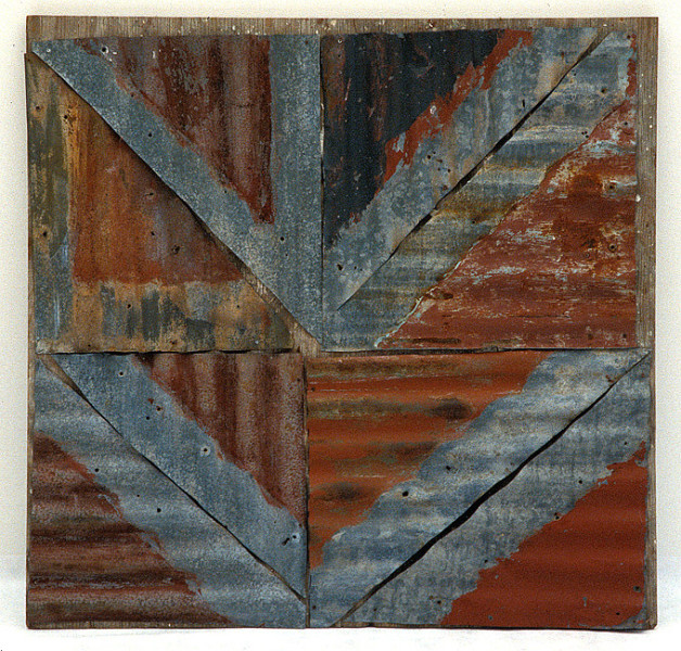 Rosalie Gascoigne Frontier V, 1998; painted corrugated iron panels on wood; 116 x 120 cm; enquire