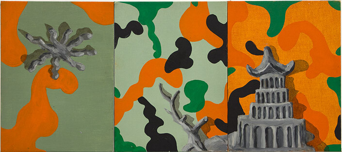 Tony Clark Chinoiserie Landscape, 1987; 30.5 x 22.8 cm (each panel) 30.5 x 68.4cm (overall); enquire