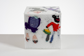 Destiny Deacon and Virginia Fraser Snow storm, 2005; golliwogs, polystyrene and perspex cube; 40 x 40 x 40 cm; enquire
