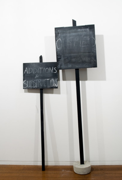 Mikala Dwyer Outfield: The additions and Substractions, 2009; concrete, wood, paint, chalk; 180 x 100 x 100 cm; enquire