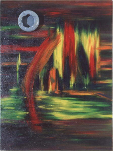 Dale Frank Red trees and yellow trees with a meteor, 1984; acrylic and mixed media on canvas; 122 x 91 cm; enquire