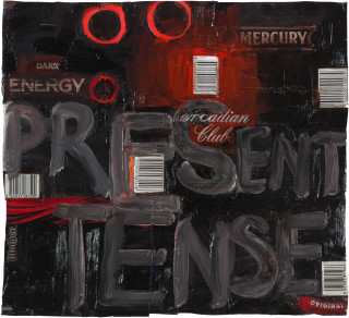 Fiona Hall present tense, 2020; oil paint on aluminium drink cans; 54 x 58 cm; enquire