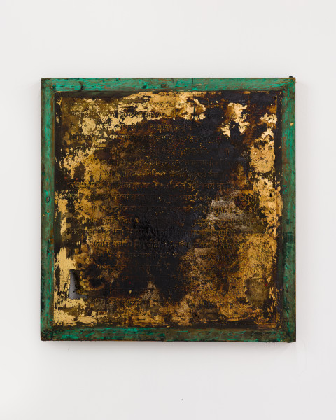 Kirtika Kain The Solar Line II, 2020; Tar, screen printing emulsion, gold leaf, gold paint, sindoor pigment, silicon carbide, beeswax, disused silk screen; 82 x 79 cm; enquire