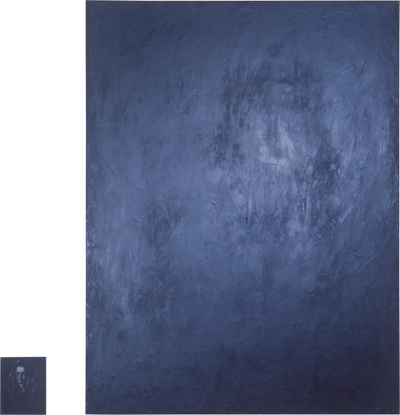 Lindy Lee Untitled Painting, 1986; wax, oils on canvas, photocopy on Stonehenge paper; 177 x 135 cm, 25 x 19.9 cm; enquire