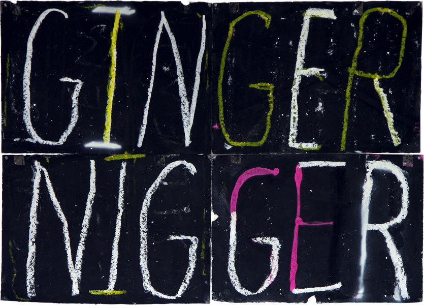 Newell Harry Anagram drawing: Ginger / Nigger, 2005; black gesso, spray paint, acrylic, oil pastel, on ironed Fabriano paper, four parts; overall dimensions: 112 cm x 150 cm; enquire