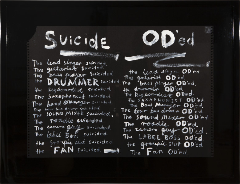 Nell A Short History of Rock 'n' Roll - Suicide/O.D., 2013; acrylic on paper; 58 x 78.5 (framed); enquire