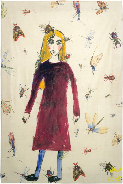 Jenny Watson Girl in a dress, 2015; acrylic on insect pattern cotton; 91 x 61 cm; enquire