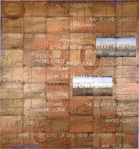 Imants Tillers Outback: B, 2006; synthetic polymer paint, gouache on 54 canvasboards, nos. 76850 - 76903; 228 x 212.5 cm; enquire