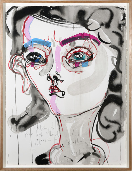 Del Kathryn Barton talking to your kids through glass, 2016; archival ink and acrylic on paper; 80.5 x 62 cm; (framed); 76 x 56cm (paper size); enquire