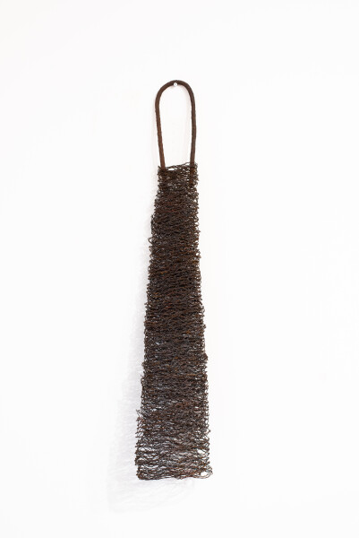 Lorraine Connelly-Northey Narrbong, 2019; CONNL - 0024; burnt rabbit-proof fencing wire, rusted steel rod; 120 x 23 x 19 cm; enquire
