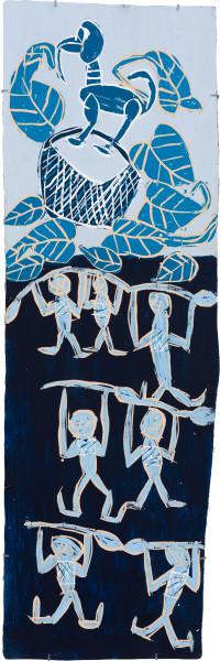 Dhambit Munuŋgurr Dambung'thun - Dancers at Wandawuy, 2021; 1774-21; earth pigments and acrylic on bark; 178 x 58 cm; enquire