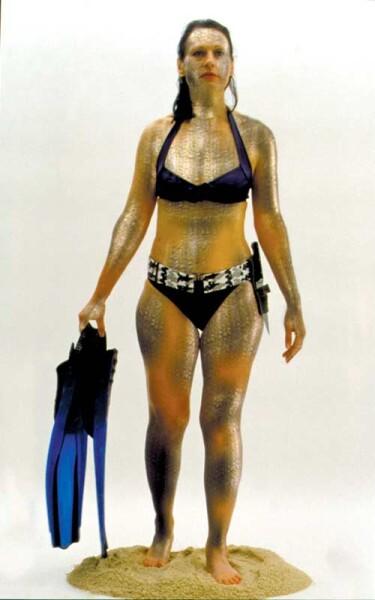 Julie Rrap Camouflage # 1 (Ursula), 2000; photograph mounted on lexcen; 195 x 122 cm; Edition of 9; enquire