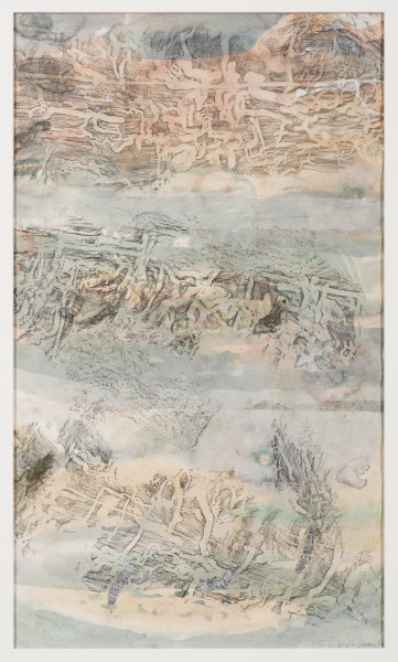 John Wolseley Beneath the bark – engraved biographies, 2019; watercolour, etching and relief prints from found wood; 74.5 x 44 cm; enquire
