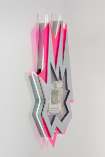 Brook Andrew This year, taste in high life... (detail), 2020; paper, wood, neon, acrylic; 109 x 80 x 8.5 cm; enquire