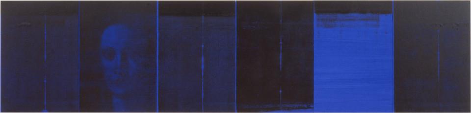 Lindy Lee Zero, 1994; photocopy and acrylic on Stonehenge paper; 41 x 171.5 cm; 6 panels; enquire