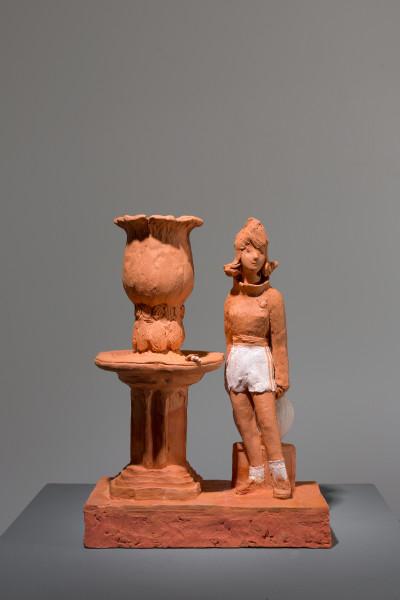 Linda Marrinon Woman with water basin, 2018; terracotta; 32 x 23 x 12 cm; enquire