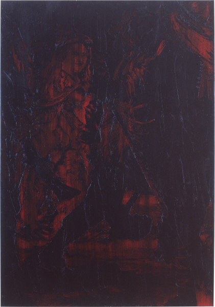 Lindy Lee The Pleasure of Perfect Opposition, 1991; oils and wax on canvas; 195 x 137 cm; enquire