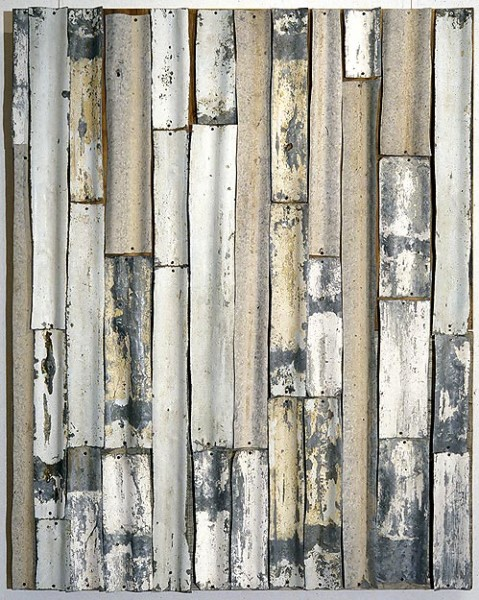 Rosalie Gascoigne Steel Magnolias, 1994; corrugated iron on plywood; 104.5 x 98.5 cm; enquire
