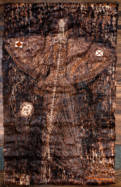 Fiona Hall Sinking Feeling, 2012; Tongan ngatu dye and ochre on barkcloth; 330 x 220 cm; enquire