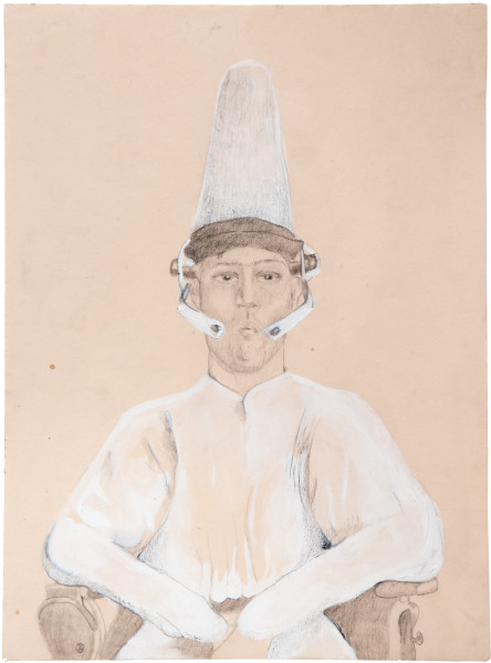 Hossein Ghaemi In moderation Ussef, 2009; gouache, pencil and the artists blood on paper; 38 x 29 cm; enquire