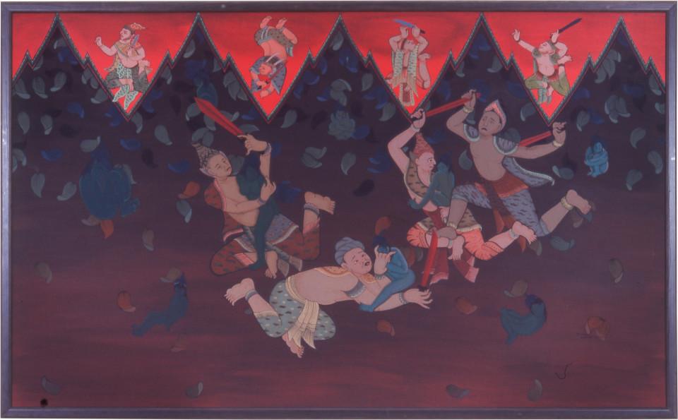 Phaptawan Suwannakudt Nariphon II, 1996; acrylic on silk; 90 x 165 cm; enquire