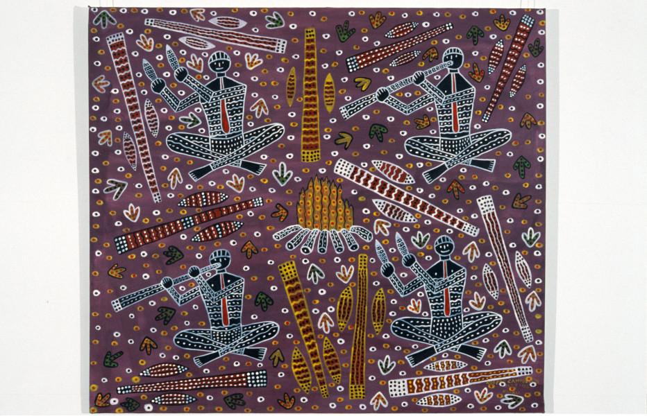 Robert Campbell Jnr Aboriginal Orchestra, 1989; acrylic on canvas; 106 x 119 cm; enquire