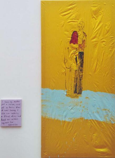 Jenny Watson Tattoo Love 2, 1998; oil on silk, acrylic on canvas; 148 x 72 cm; 25 x 20 cm (canvas size); enquire