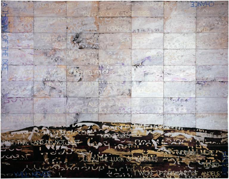 Imants Tillers Kosciusko, 2008; acrylic, gouache on 77 canvasboards nos. 80979 - 81055; 223.5 x 284.5 cm; enquire