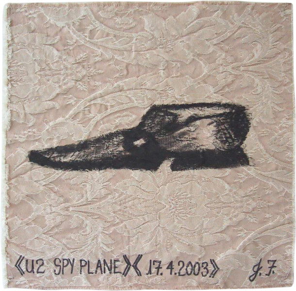 Jacqueline Fraser U2 Spy Plane >, 2003; from the series AN ELEGANT PORTRAIT REFINED IN ELEVEN STUDIOUS PARTS >; oil stick on fabric (framed); 32 x 32 cm; enquire