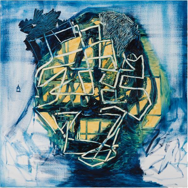 Gareth Sansom Blue Head, 2019; oil and enamel on linen; 122 x 122 cm; enquire