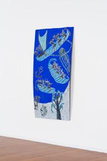 installation view; Dhambit Munuŋgurr Manggatharra, 2021; 157-21; earth pigments and acrylic on bark; 204 x 110 cm; enquire
