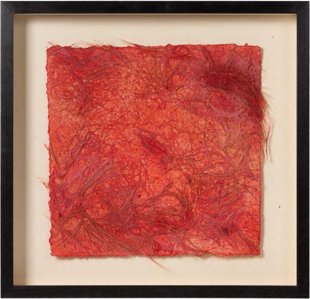 Kirtika Kain rapture, 2019; kumkum powder, bristles, wax, hand made paper; 52.5 x 54 cm; Enquire