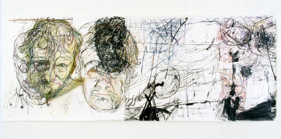 Mike Parr RADAR RRAP (The Zombie Exchange), 1987; Acrylic & charcoal on Stonehenge paper; 127.5 x 350 cm; enquire