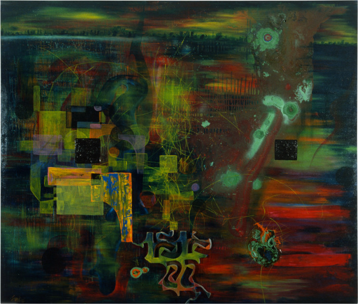 Dale Frank The Picturesqueness of those crazies and the spinning Views, 1986; acrylic & mixed media on canvas; 180 x 230 cm; enquire