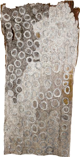 Nyapanyapa Yunupingu untitled, 2015; 4861S; Bark painting; 180 x 90 cm; enquire