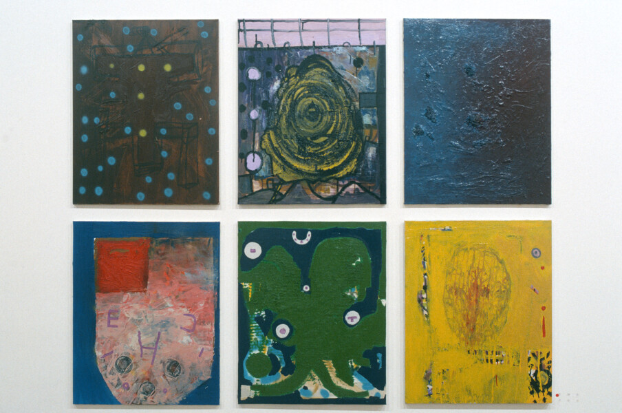 Gareth Sansom Structure with Spots, Spiral, Void, Red Corner, Green Shape, Head, 1990; mixed media on cotton duck; 76 x 61cm (each); enquire