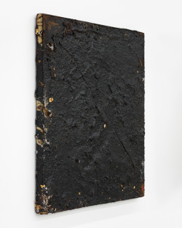 Kirtika Kain The Solar Line XXII, 2020; Tar, plaster, disused silk screen; 67 x 59 cm; enquire