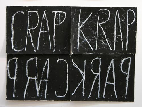 Newell Harry Anagram drawing: Crap / Krap / Car(p) / Park, 2005; black gesso, oil pastel, on ironed Fabriano paper, four parts; overall dimensions: 112 cm x 150 cm; enquire